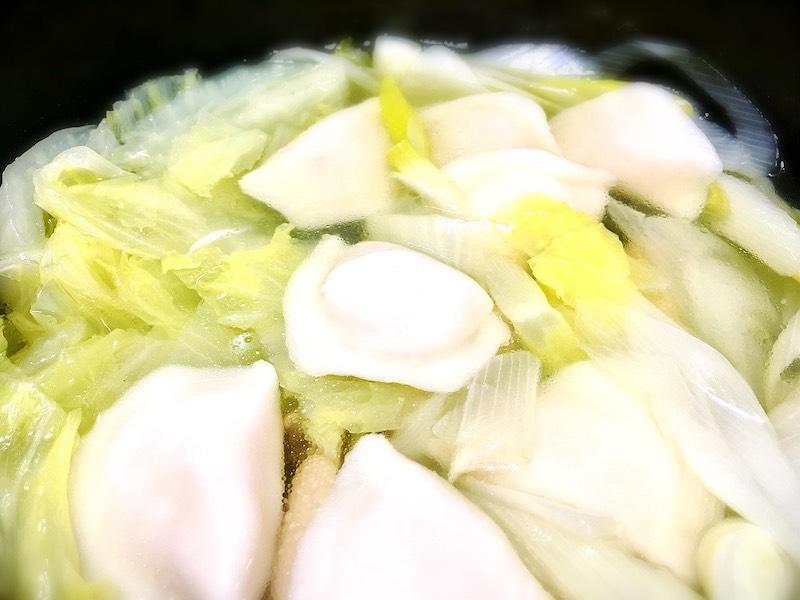 道場六三郎, 水餃子, シンプルに野菜鍋で食べました