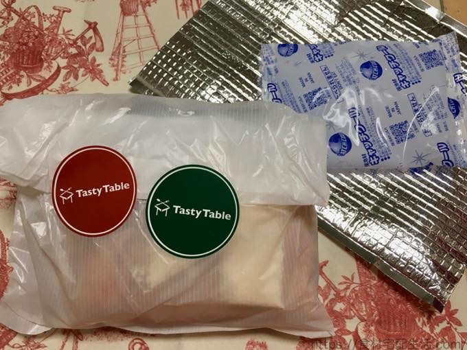 Tasty Table タンドリーチキンのシーザーサラダ仕立て&あさりのリゾット風 保冷バッグ中身